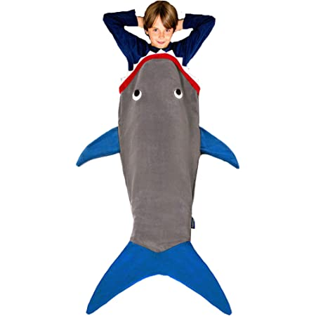 56 H x 27 Shark Blanket Kids Ages 5-12 New Shark Tail Double Sided Super Soft and Cozy Minky Fleece Blanket Blankie Tails , Official Shark Week - Gray Machine Washable Wearable Blanket