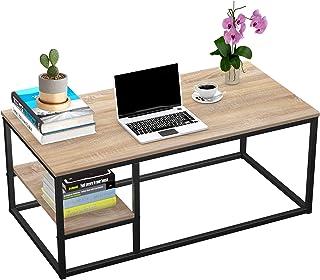 Table Basse avec étagère, Table Basse Moderne, Table de Salon avec Fonction de Rangement, Table rectangulaire 102 × 50 × 4...