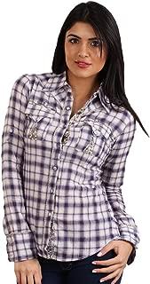 Anka Button Down Plaid Western Floral Shirt in Purple