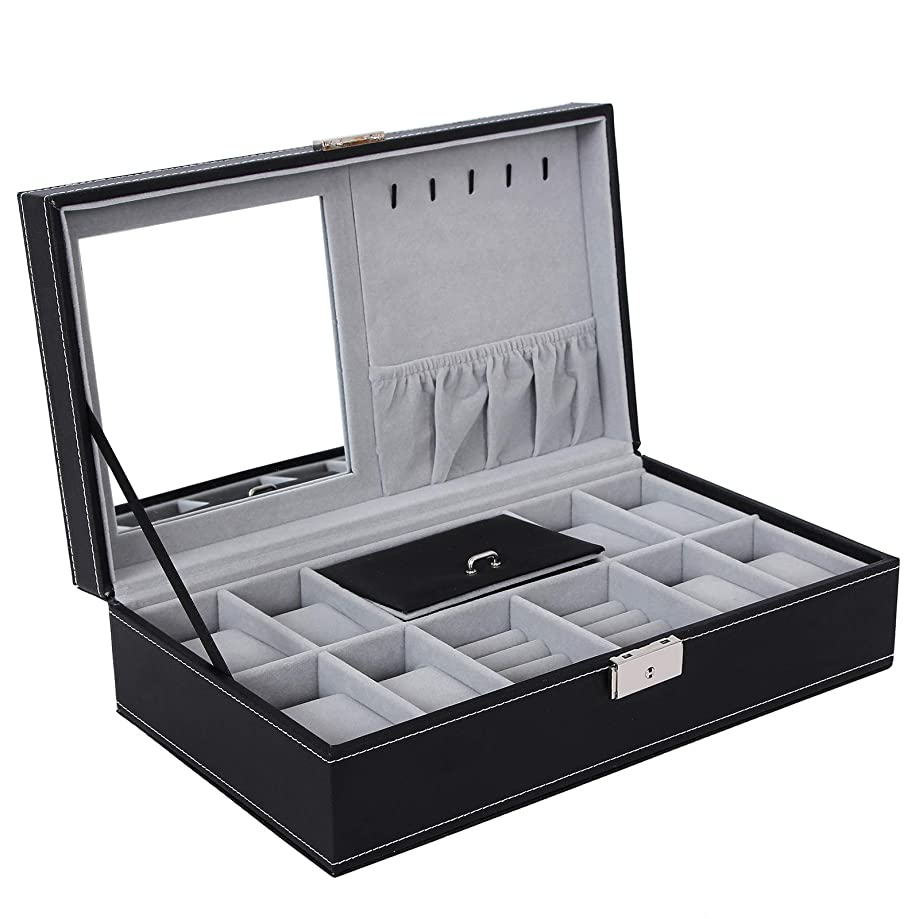 SONGMICS Black Jewelry Box 8 Watch Organizer Storage Case with Lock and Mirror UJWB41B