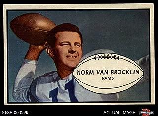 1953 Bowman # 11 Norm Van Brocklin Los Angeles Rams (Football Card) Dean's Cards 5 - EX Rams