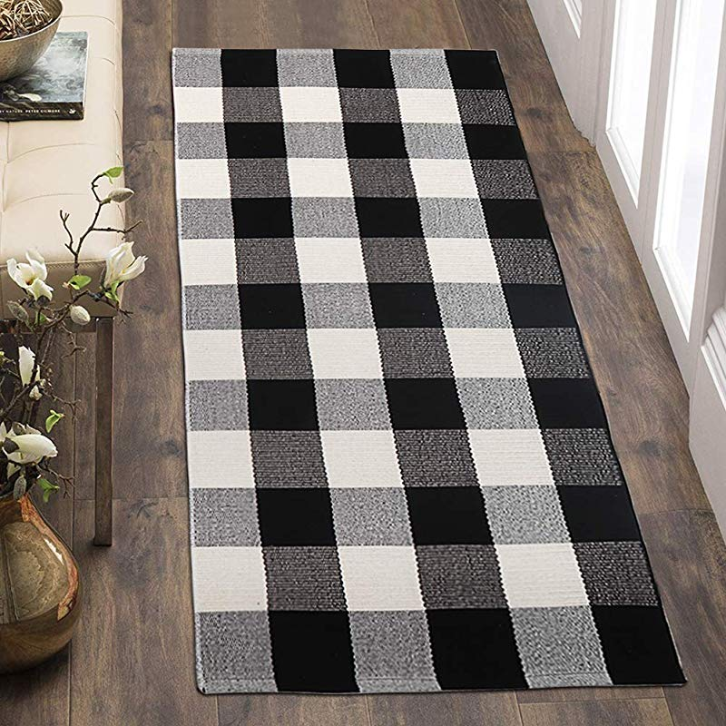 OJIA Cotton Buffalo Plaid Rugs Black And White Checkered Rug 24 X51 2 X 4t Outdoor Rug Area Rugs Woven Throw Carpet For Kitchen Bathroom Outdoor Porch Laundry Living Room Entryway