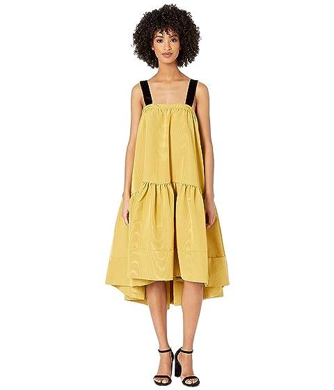 Adam Lippes Moire Taffeta Dress w/ Velvet Straps