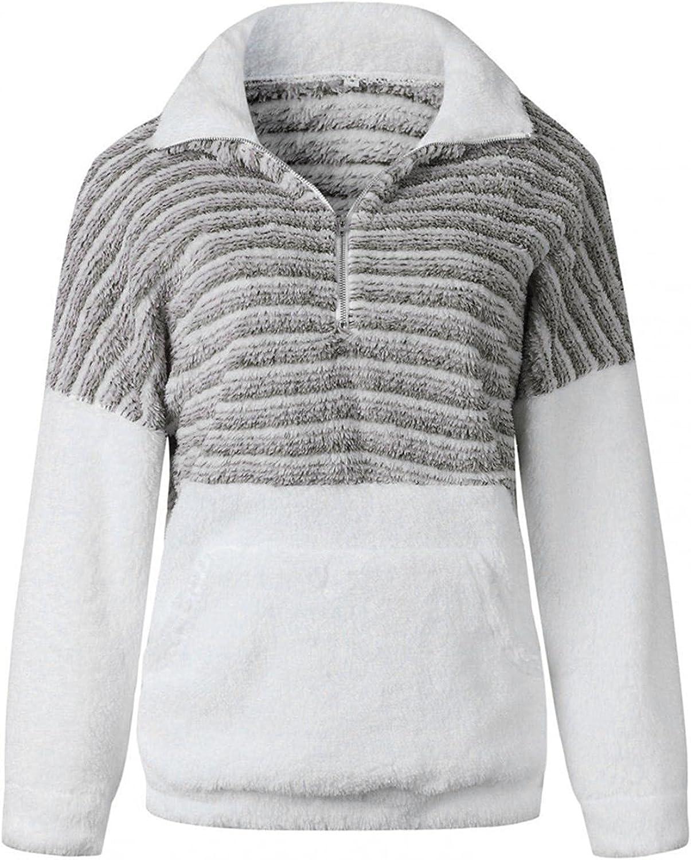 Toeava Womens Zip Up Sweatshirt ,Women's Patchwork Long Sleeve Fuzzy Fleece Sweatshirt Pullover Jacket Coat With Pocket