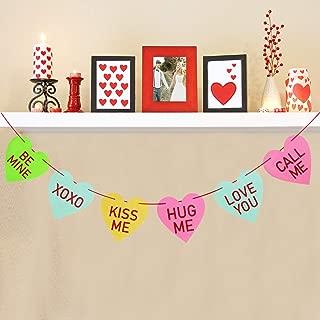 Valentines Conversation Hearts Garland Banner - Felt Candy Hearts Banner Garland - Funny Valentine's Decor Party Decorations -NO DIY Required