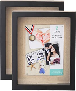 UMICAL 2 Pack - 8.5x11 Shadow Box Display Case - Deep Shadowbox Picture Frame with Linen Board - 3D Showcase Keepsake Art Graduation Baby Wedding - Wall Hanging & Free Standing