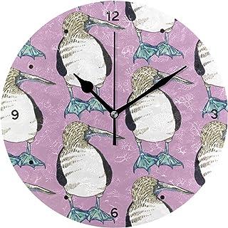 インテリア 掛け時計 サイレント キッズ 子供 部屋 簡単 鳥 青足ブービー 野生動物 動物 柄 子供 置き時計 おしゃれ 北欧 時計 壁掛け 連続秒針 電池式 [並行輸入品]