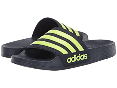 adidas Kids Adilette Shower Slide (Toddler/Little Kid/Big Kid) (Indigo/Yellow) Boys Shoes