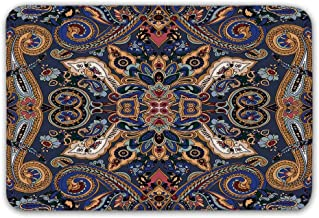 TecBillion Paisley Front Door Mat,Historical Moroccan Florets with Slavic Effects Heritage Design Doormat for Inside or Outside,23.6