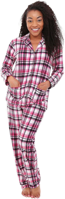 Alexander Del Rossa Womens Fleece Pajamas, Long Button Down Pj Set