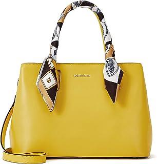 BOSTANTEN Damen Leder Handtasche Schultertasche mit Seidentuch Frauen Umhängetasche Elegante Henkeltasche Tote Bag Gelb