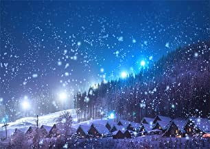 Leowefowa 7X5FT Christmas Backdrop Rustic Village Night View Forest Trees Snowing Shining Lights Blue Sky Winter Xmas Vinyl Photography Background Kids Children Adults Photo Studio Props