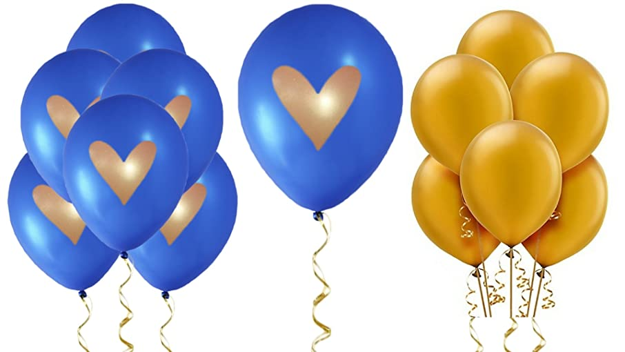 Cobalt Blue Balloons Royal Blue Gold Heart Love 12