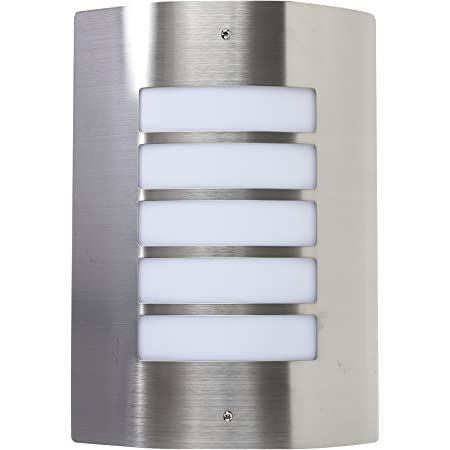 Modern Stainless Steel and Frosted Opal Lens Curved IP44 Rated Outdoor Garden Wall Mounted Security Light