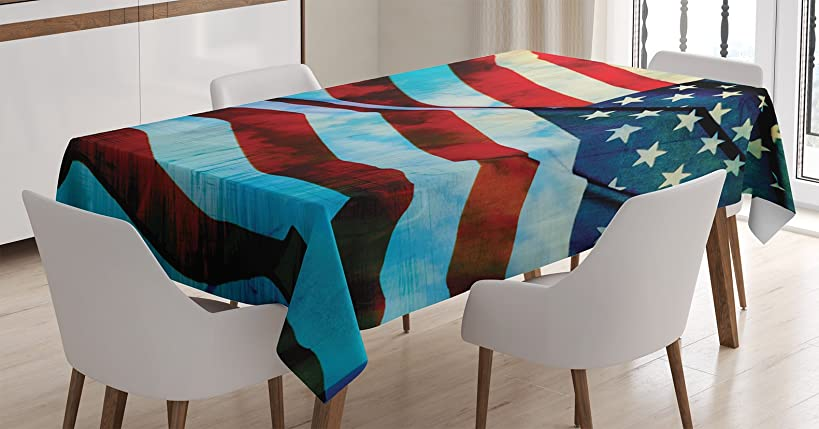 Ambesonne American Flag Decor Tablecloth, American Flag in The Wind on Flagpole Memorial Patriot History Image, Dining Room Kitchen Rectangular Table Cover, 60 W X 84 L Inches, Blue Red