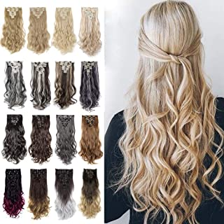 """8Pcs 18Clips 24"""" Long Thick Straight Curly Wavy Full Head Hairpieces Clip in Double Weft Hair Extensions 100% Japanese Kan..."""