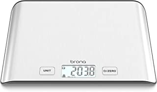 BRONA Multifunction Digital Kitchen Food Scale Weight in Grams and Ounces with Backlit LCD, 5KG/ 11 lbs Max., 0.1oz/ 1g Increments, Water & Milk Volume Conversion, Stainless Steel Platform (EK8830H)