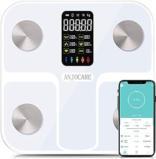 ANJOCARE Bilancia Pesa Persona Digitale Bilancia Pesapersone Impedenziometrica Senza Fili Intelligente per IOS e Android I...