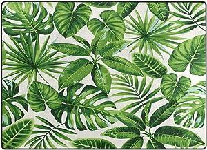 Use7 Alfombra de Palma exótica Verde Tropical salón o Dormitorio, Tela, 160cm x 122cm(5.3 x 4 Feet)