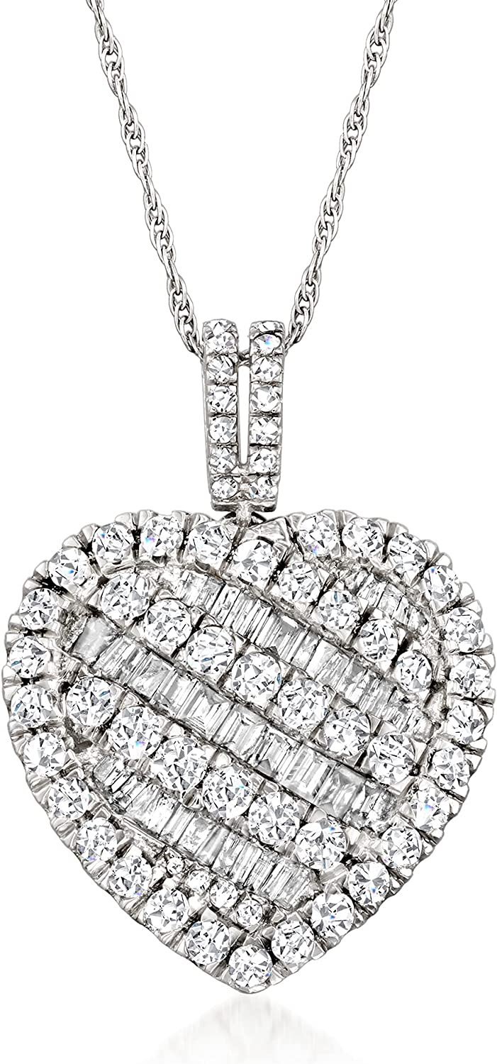 Ross-Simons 2.00 Save money ct. t.w. Baguette Popular Round Heart and Pendant Neckl