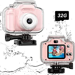 Upgrade Kids Waterproof Camera, Children Underwater Sports Camera Toy for 3 4 5 6 7 8 9-Year-Old Girls HD Toddler Digital Action Camera 1080P Screen Supported Diving Video Camera with 32GB Card (Pink)