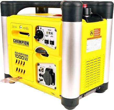 Champion 1000W 230V 1000W Inverter Gasolina Generador electrógeno de Emergencia Generadores de Corriente EU Gasolina Generador, 2.8L, Amarillo de Negro