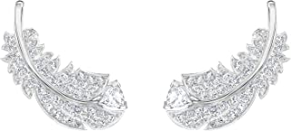 Crystal Naughty Clear Rhodium Plated Feather Earrings