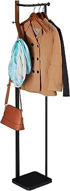 Relaxdays Porte-Manteau, métal & Bois, Moderne, 3 Crochets & Tringle à vêtements, HLP 173 x 30 x 25 cm, Noir-Marron,