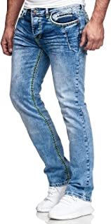 Kc-1981 Men's Jeans Washed Straight Cut Regular Stretch