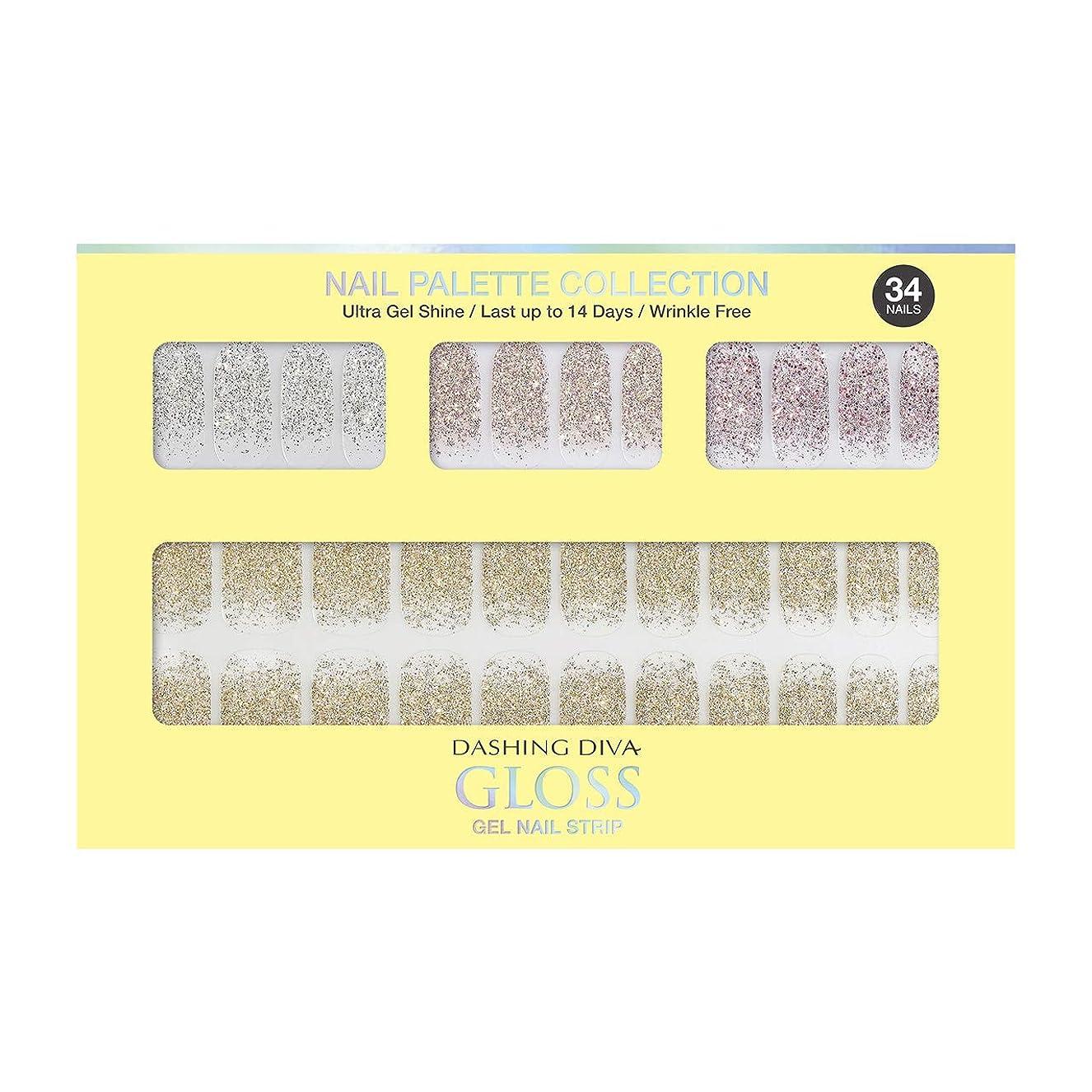 助言ロバ燃料ダッシングディバ グロスジェル ネイルストリップ DASHING DIVA Gloss Gel Nail Strip DGNP07-DURY+ オリジナルジェル ネイルシール Lemon #07 Sparkling Powder