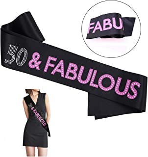50 and Fabulous Birthday Sash for Women and Men, Black Satin Sash with White and Pink Lettering, Party Supplies Favors Decorations Gag Gift for Him/Her - 1 pc
