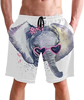 FFY Go Beach Shorts, Cute Elephant Printed Mens Trunks Swim Short Quick Dry with Pockets for Summer Surfing Boardshorts Ou...