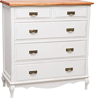 Country-Style Solid Lime Wood Antiqued White Frame top Walnut Finish W100xDP45xH106 cm Sized tallboy Made in Italy