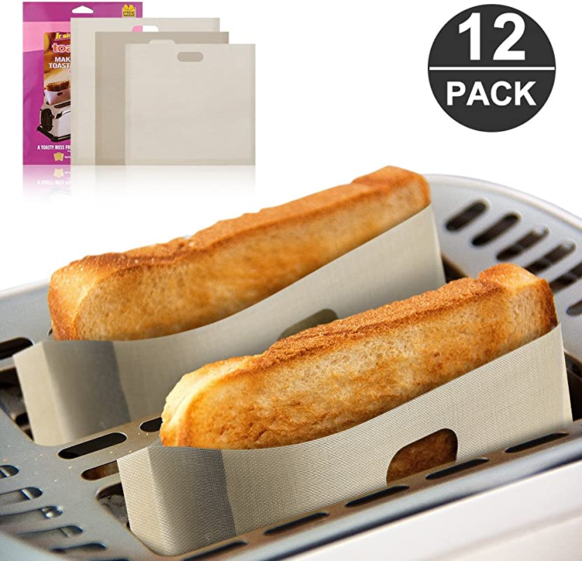 12 Pack Toaster Bags Reusable Mopoin Non Stick FDA LFGB Approved 100 BPA Gluten Free Bags For Grilled Cheese Sandwiches Pizza Chicken Panini Garlic Toast