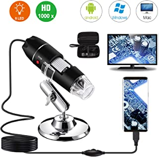 Microscopio Digital USB 40X a 1000X Bysameyee 8 LED Cámara de endoscopio de Aumento con Estuche y Soporte de Metal Compatible para Android Windows 7 8 10 Linux Mac