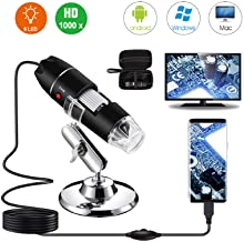USB Digital Microscope 40X to 1000X, Bysameyee 8 LED Magnification Endoscope Camera with..