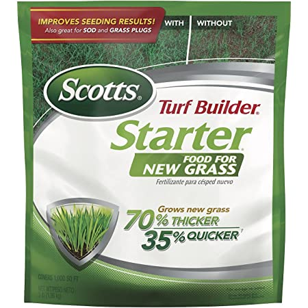 Scotts Turf Builder Starter Food for New Grass, 3 lb. - Lawn Fertilizer for Newly Planted Grass, Also Great for Sod and Grass Plugs - Covers 1,000 sq. ft.
