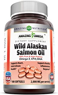 Amazing Omega Wild Alaskan Salmon Oil - 2000 mg of Salmon Oil Per Serving, 180 Softgels (Non-GMO) - Supports Heart, Joint ...