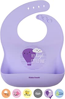 KIDDO FEEDO Silicone Bibs for Infants and Children - 6 Stylish/Cute Designs Available - Easy-Clean, Non-Plastic, BPA Free and 100% Safe - Purple