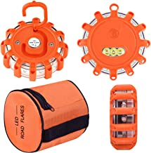 Vancle LED Road Flares Flashing Warning Light Roadside Flare Emergency Disc Beacon Kit, Magnetic Base with Hook for Car or Boat (Batteries Not Included) (set of 3)