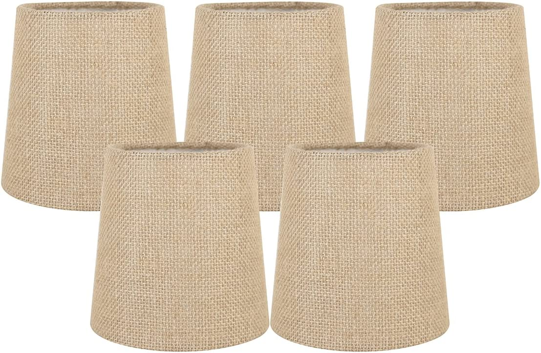 Meriville Free shipping Set of 5 Natural Burlap Shades Chandelier On Lamp Clip Industry No. 1