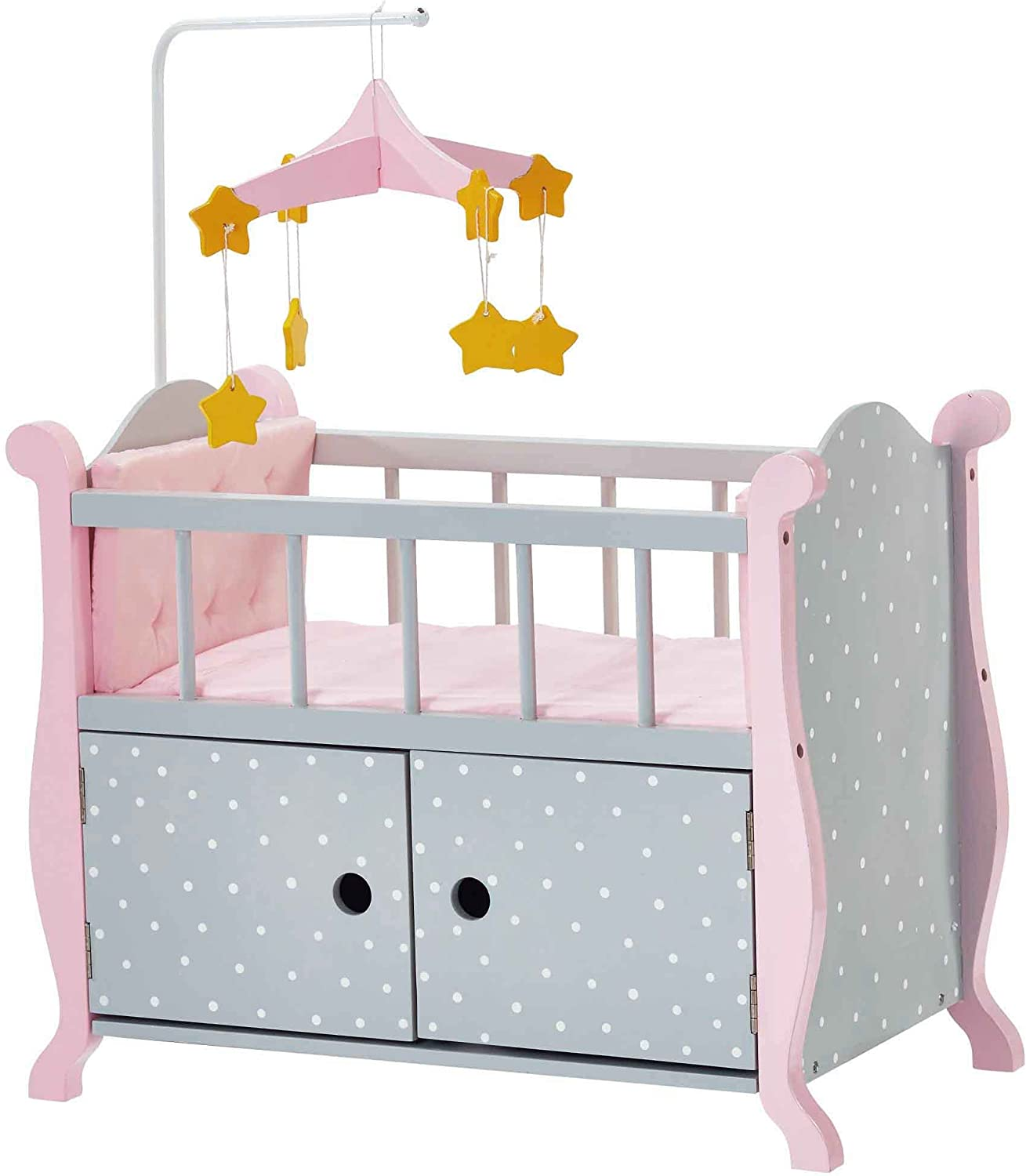 Olivia's Little World  18  Baby Wooden Doll Furniture, Polka Dots Princess Nursery Crib Bed with Storage Cabinet (Grey)