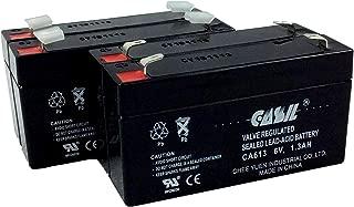 4 Pack Casil 6v 1.3ah Rechargeable Replacement for Power-Sonic PS-612 SLA 23050 PE6V1.2 PE6V1.3F1 HP1.2-6 Axon Oscillomate B&B Battery BP1.2-6 SLA BP126 GE Interlogix Simon 3