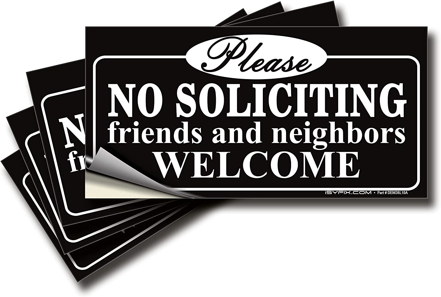 No Soliciting Sign Sticker for House, Home & Business – 4 Pack 7x3.5 inch – Premium Self-Adhesive Vinyl, Laminated for Ultimate UV, Weather, Scratch, Water and Fade Resistance, Indoor & Outdoor