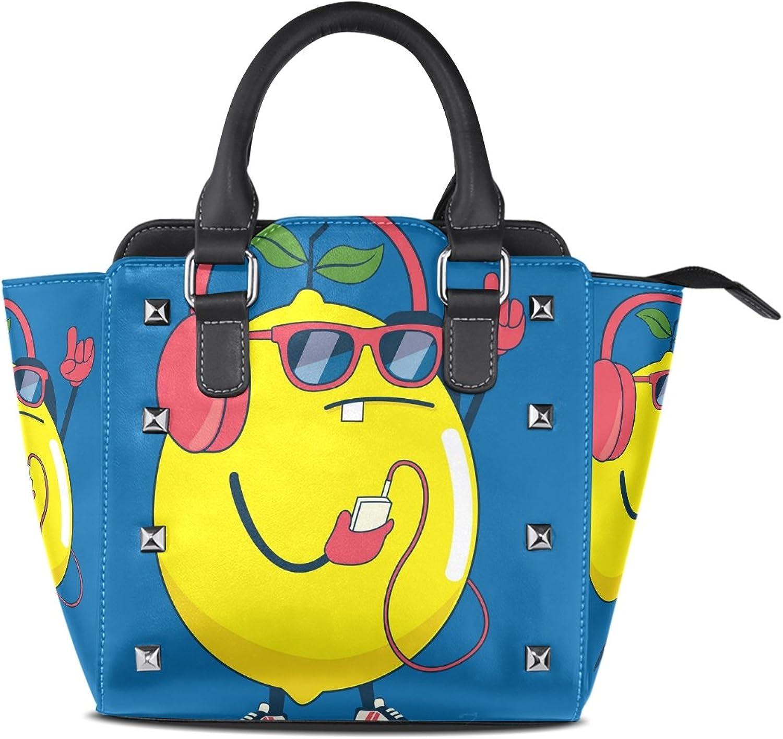 My Little Nest Women's Top Handle Satchel Handbag Cool Lemon Ladies PU Leather Shoulder Bag Crossbody Bag