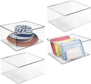 mDesign 4er-Set Kleiderbox groß – Aufbewahrungsbox mit Deckel für den Kleiderschrank – Stapelboxen aus Kunststoff für Bekleidung und Co. – durchsichtig