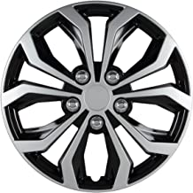 Pilot Automotive WH553-15S-BS Universal Fit Spyder Wheel Cover [Set of 4] - 15 in. ABS Hub Cap with 10 Spokes, Black/Silver Finish. Car Accessories