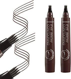 Boobeen 2Pcs Microblading Eyebrow Pencil - Waterproof Eyebrow Tattoo Pen with a Micro-Fork Tip Applicator - Creates Natural Looking Brows Effortlessly