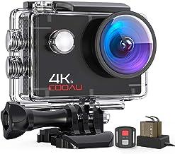 COOAU Cámara Deportiva 4K WiFi 16 MP con Control Remoto, Camara Accion Acuatica de 40M con 2 Baterías y Cargador Externo, Función EIS Anti-vibración y Slow Motion