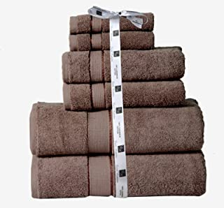Cozy Home Collection Luxurious Hotel Spa Quality 100% Cotton Absorbent 700 GSM 6PC Bathroom Towel Set Made of 100% Long-Staple Combed Cotton, 2 Washcloths, 2 Hand Towels, 2 Bath Towels- Brown